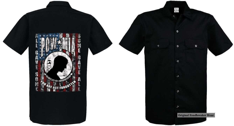 Worker Shirt Vintage-,HD-, Biker -,Chopper-& OldSchoolmotiv Modell POW MIA Flag