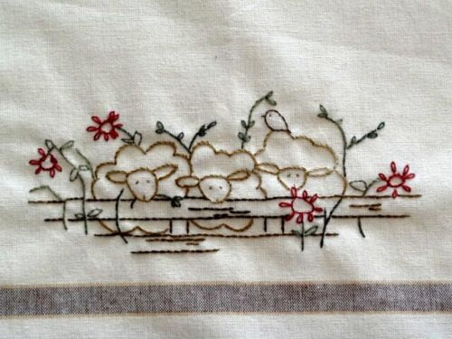 Pigs Sheep Hand Embroidery Pattern Farm Animals Country Garden Stitchery