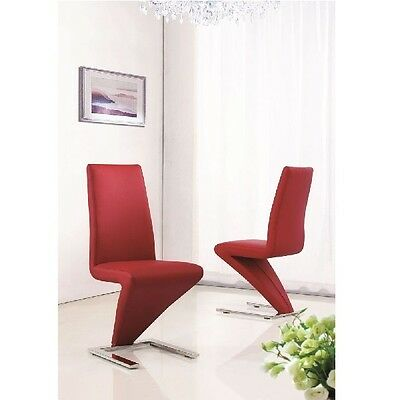 SET OF 2 DELUXE DESIGNER LEATHER CHROME Z DINING LIVING ROOM CHAIRS - RED