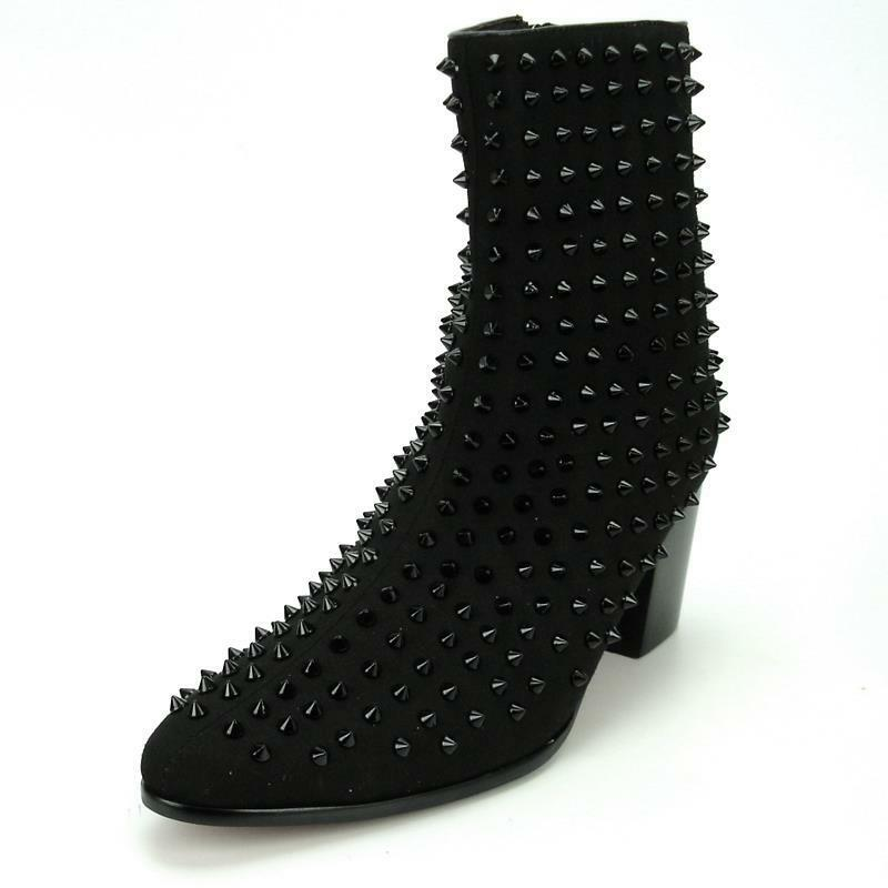 New Men's Fiesso Black Suede Spikes Pointed Toe Cowboy Boots w  Zipper FI 7142
