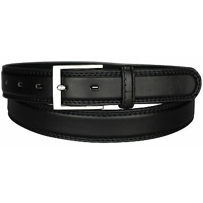 New Mens Leather Belts Black Brown Thin Belt Waist 29 - 49 Metal Buckle Bonded