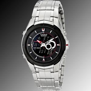 Casio Stainless Edifice 119bk 1av Steel World Efa Thermometer Watch redCxBo