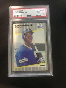 1989-FLEER-548-KEN-GRIFFEY-JR-RC-NM-MT-PSA-8-HOF-Seattle-Reds