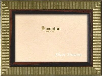 Natalini Milleri Gold Ebony Brown Hand Made Italy Marquetry 4x6  Photo Frame New