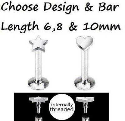 New Internally Threaded Steel Heart or Star Tragus Labret Monroe 1.2mm 16g (K2)