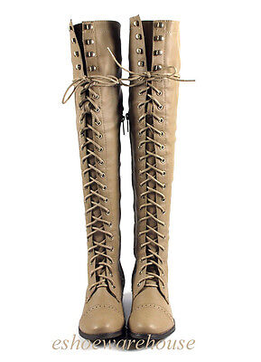 Beige Leatherette Hip n Cool Urban Over the Knee Thigh High Lace Up Flat Boots