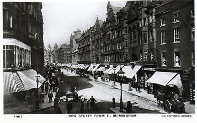 New Street Birmingham unused RP old postcard by Valentines Good cond