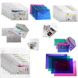 Ark Plastic Popper Stud Document Wallets Folders Clear Colours - Pack 5