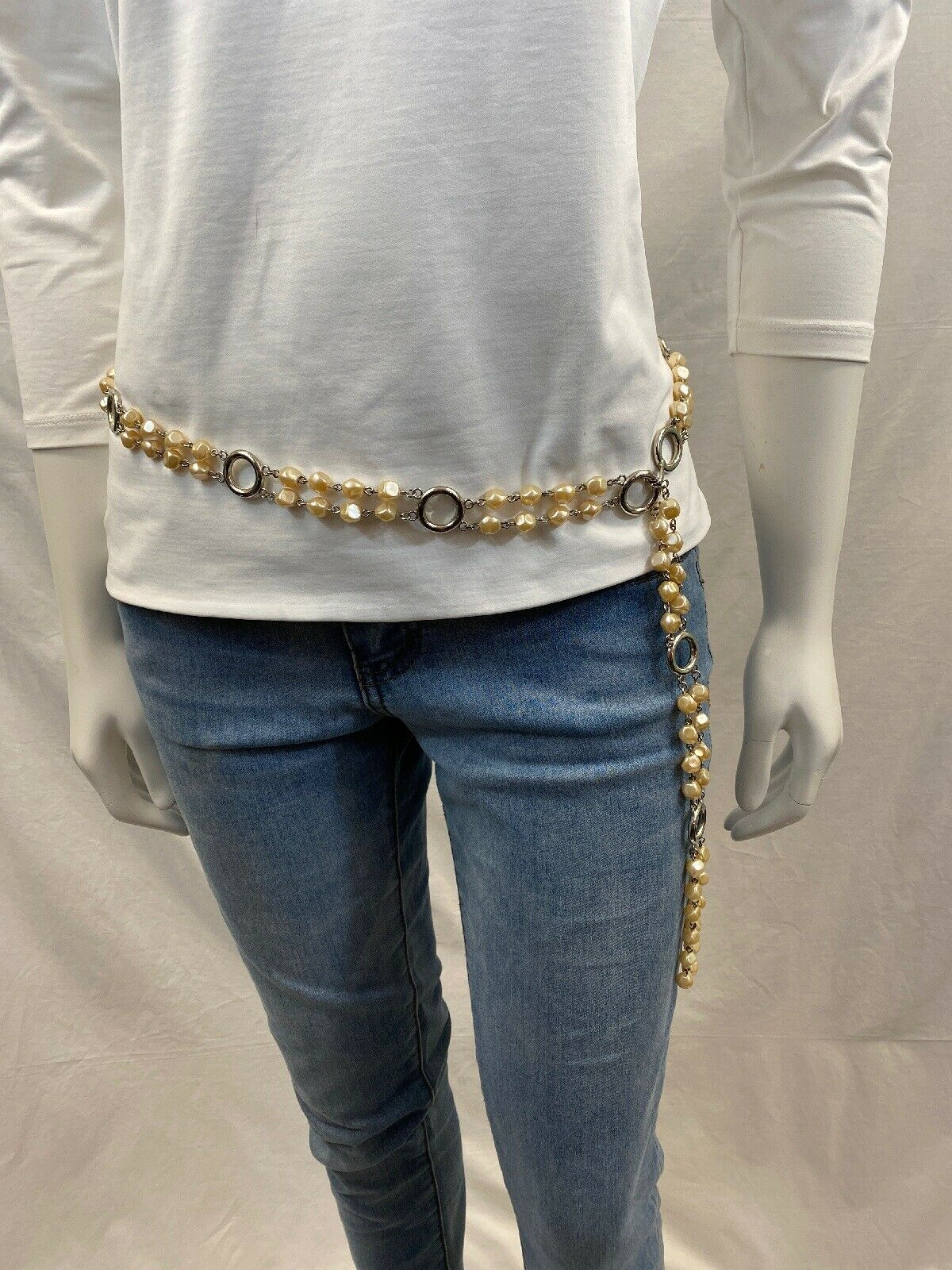 BELT Women's Circle Silver and Pearls Adjustable