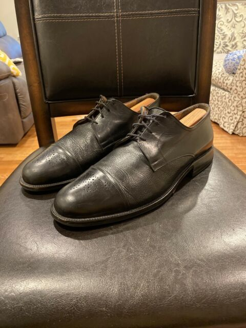 Johnston & Murphy Oxford Cap Toe Black Leather Men's Dress Shoes Size 12D