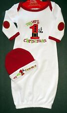 My First Very 1st Christmas Sleep Gown-Girl/Boy Baby 0-3months w/Hat   NEW