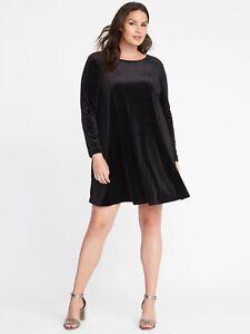 5056b9239798 OLD NAVY Plus-Size Velvet Swing Dress, Black SIZE 3X 3 X PLUS ...