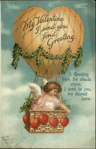 Valentine-Cherub-Hot-Air-Balloon-Unsigned-Clapsaddle-c1910-Postcard