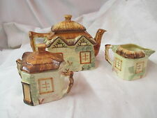 Vintage England Keele St Paramount Pottery Teapot Creamer Sugar Cottage Ware