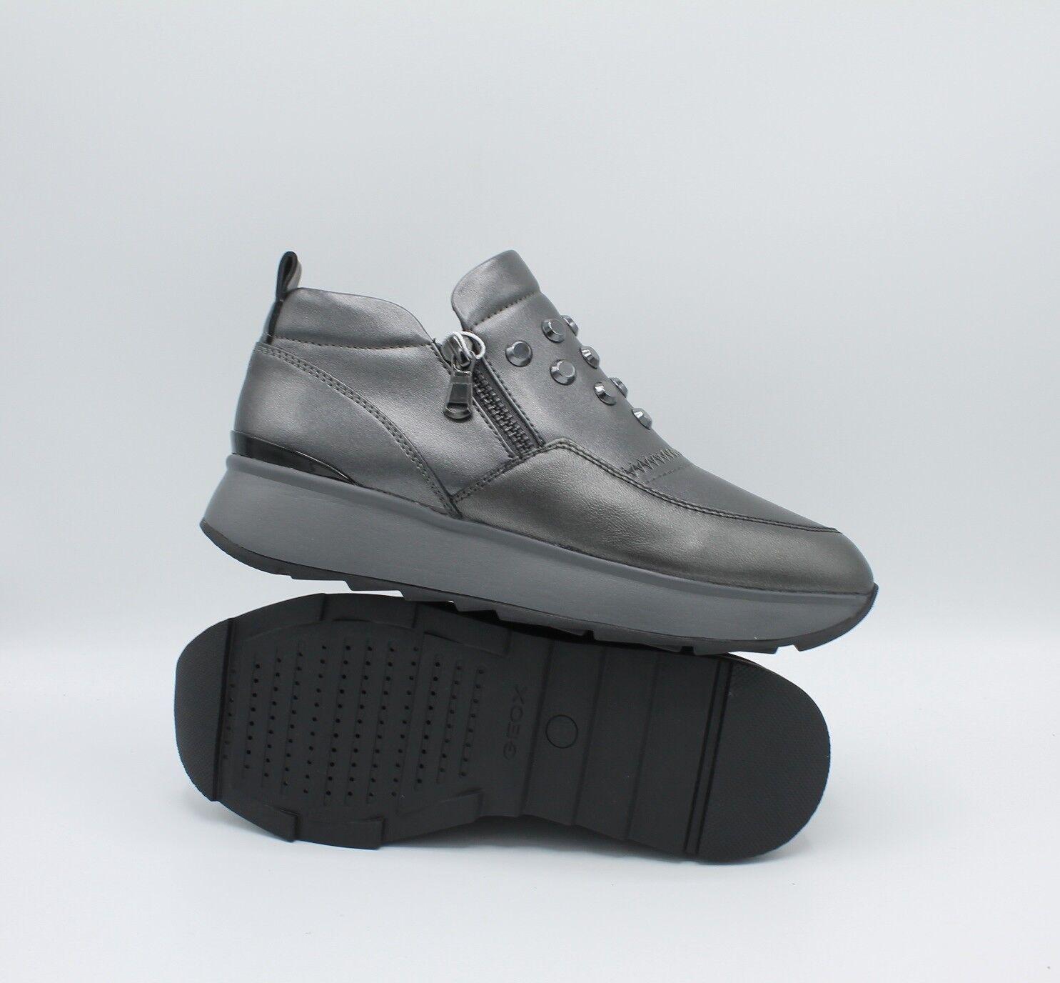 Geox Scarpe da Donna scarpe da ginnastica con Zeppa Platform Platform Platform Slip On Casual Invernale Pelle 3c3309