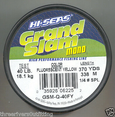 HI-SEAS GRAND SLAM MONO  40# 40lb  FLUORESCENT YELLOW  370 YARDS    GSM-Q-40FY