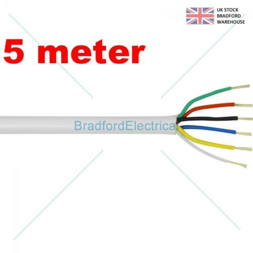Top Quality CQR British Made 6 Core Alarm Cable 5m meter White Free UK