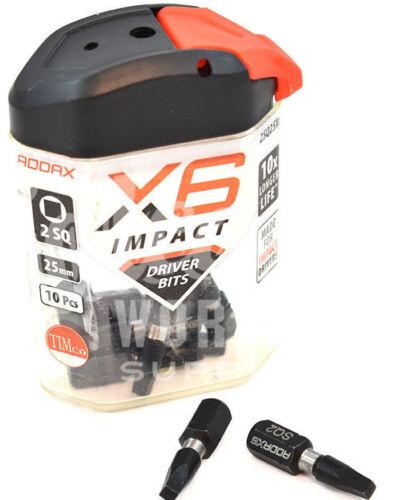 SQUARE No.2 BIT ADDAX X6 IMPACT DRIVER BITS SCREWDRIVER INSERT BIT 25mm