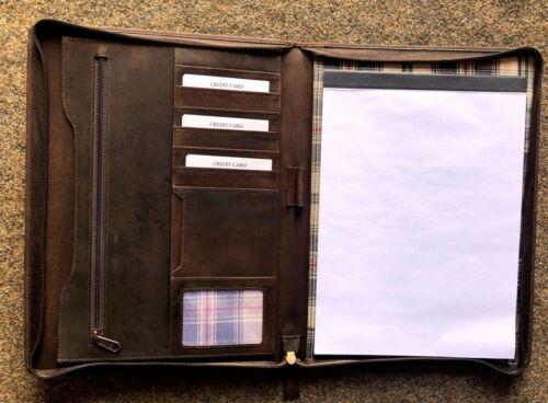 206 Schreibmappe A4 Vintage-Leder mit Reißverschluss dunkelbraun   Sonderpreis