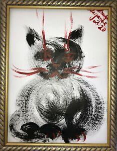 Margarita-Bonke-Malerei-Zeichnung-POP-art-schwarz-rot-katze-cat-A3