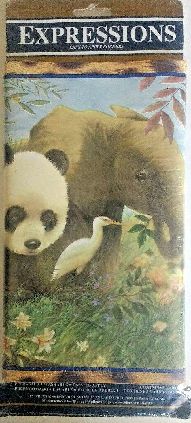 BRUNSCHWIG /& FILS Border Wallpaper Baby Kids Jungle Zoo Zebra Lion Palms Bear