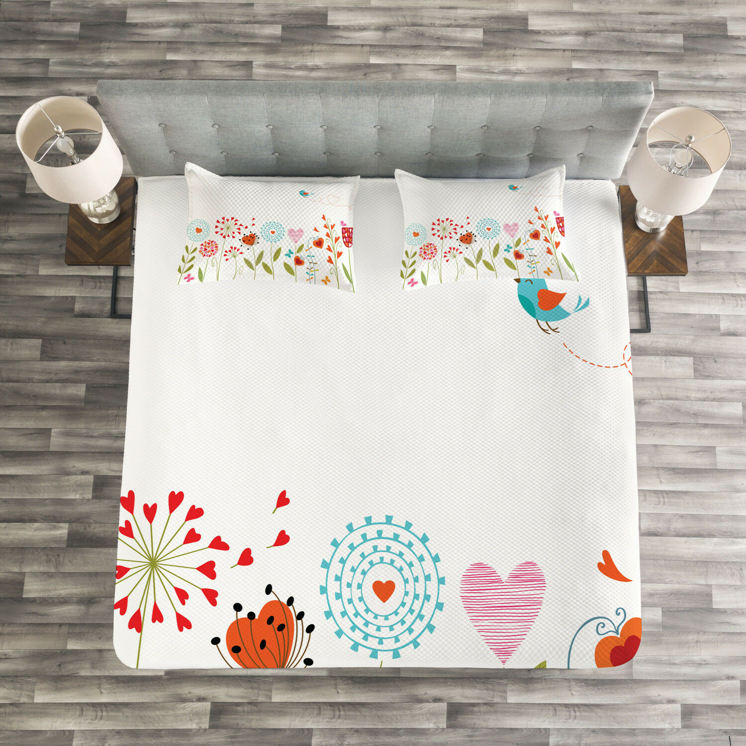 Flower Quilted Bedspread & Pillow Shams Set, Romantic Hearts Design Print