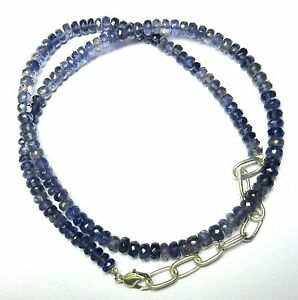 """94.00 CT Iolite Gemstone Rondelle Faceted Beads 19.5"""" NECKLACE 4.5 to 5.5MM S63"""