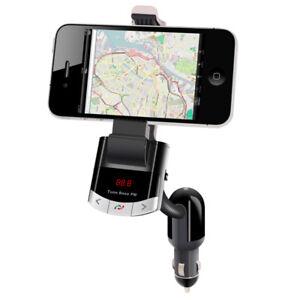 E10-Bluetooth-Car-Kit-FM-Transmitter-MP3-USB-Ladegeraet-Auto-Smartphone-Halterung