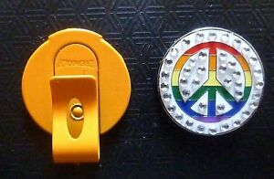 Peace-Sign-Rhinestone-1-034-Golf-Ball-Marker-with-Magnetic-Orange-Hat-Clip