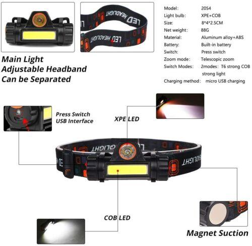 Waterproof LED Headlamp Super Bright Head Torch USB Rechargeable COB Headlight