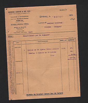 Épinal, Rechnung 1932, Georges Lesieur & Ses Fils Huileries & Savonneries Kaufe Eins, Bekomme Eins Gratis