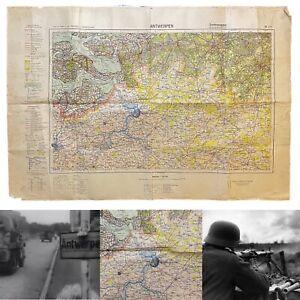 WWII-Rare-Army-Captured-German-039-Battle-of-the-Scheldt-039-Antwerpen-039-Map-WW2-Relic