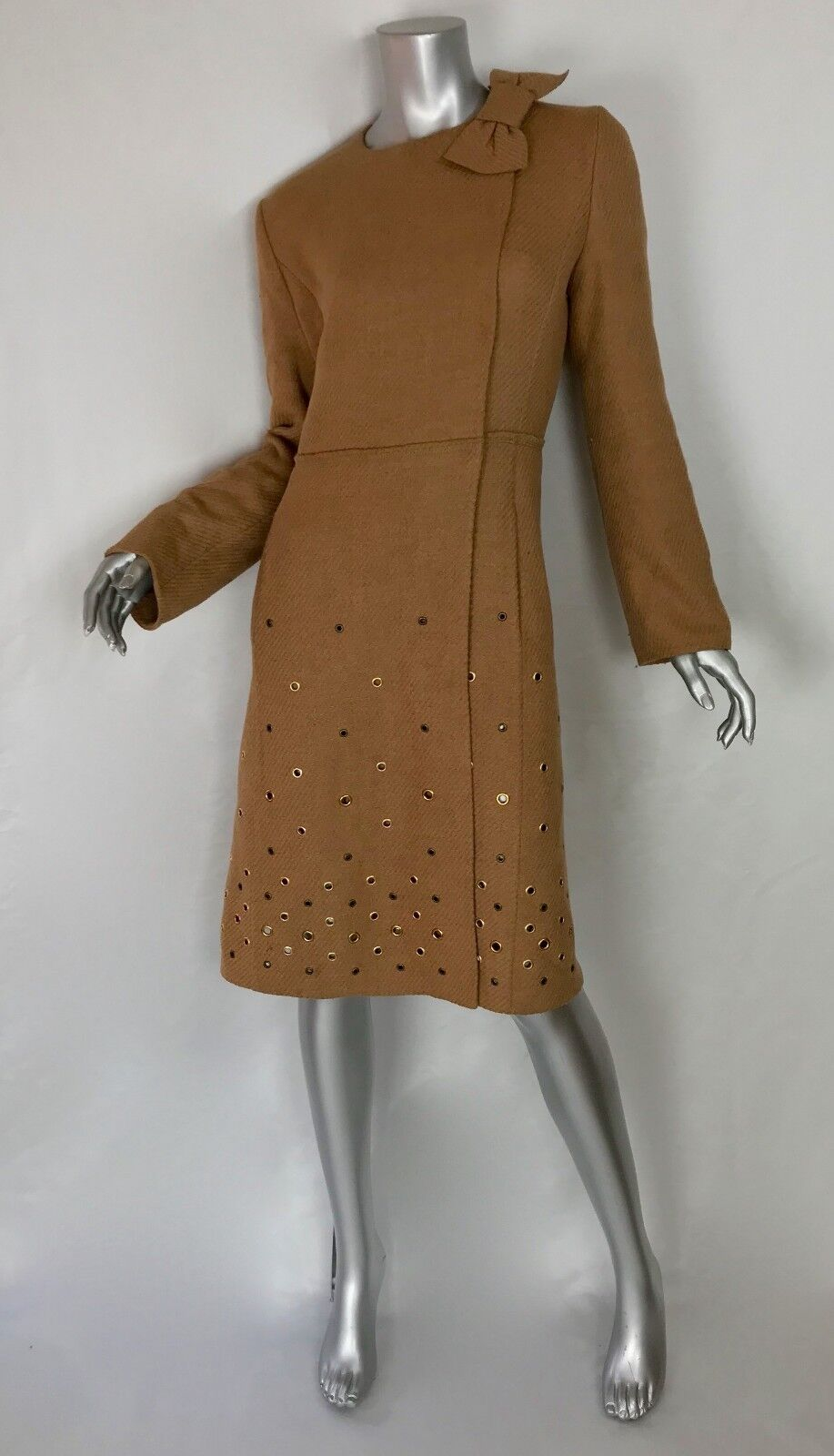 Prada 3 4 length 100% wool camel coat bow button closure metal detail Sz44 Sz10