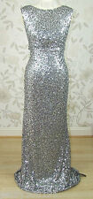 £199 BNWT Jenny Packham CARRIE All Over Silver Sequin Long Evening Dress Size 14