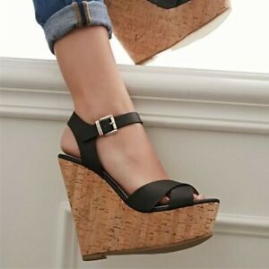 Fashion Women's Platform Peep Toe High Wedge Heel Ankle Buckle Shoes Sandals Hot