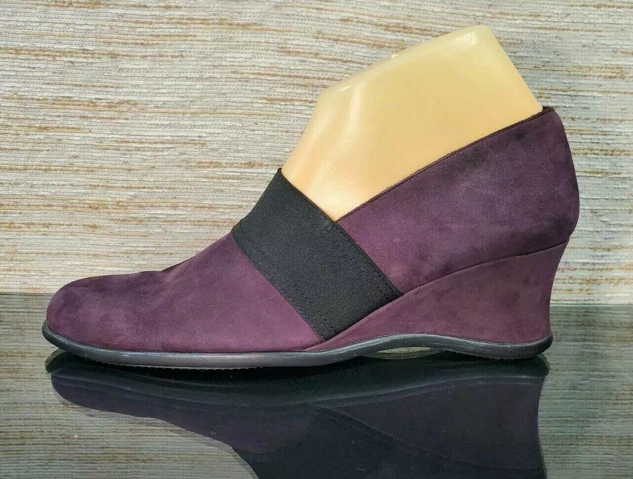 ARCHE France Purple Yam Nuback Slip-on Wedge Comfort Shoes Womens Sz 39 /US 8
