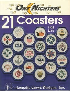 Coasters-One-Nighters-Cross-Stitch-Pattern-Booklet-1995-Crews-Holidays-Bridge