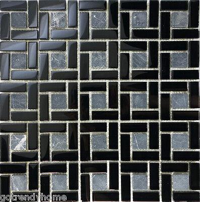 SAMPLE- Black Natural Stone Glass Pattern Tile  Wall Floor Kitchen Backsplash