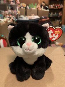 """Ty AVA -Black/White/Green Tuxedo Cat 6"""" Beanie Baby! *Retired* RARE & VHTF!!"""