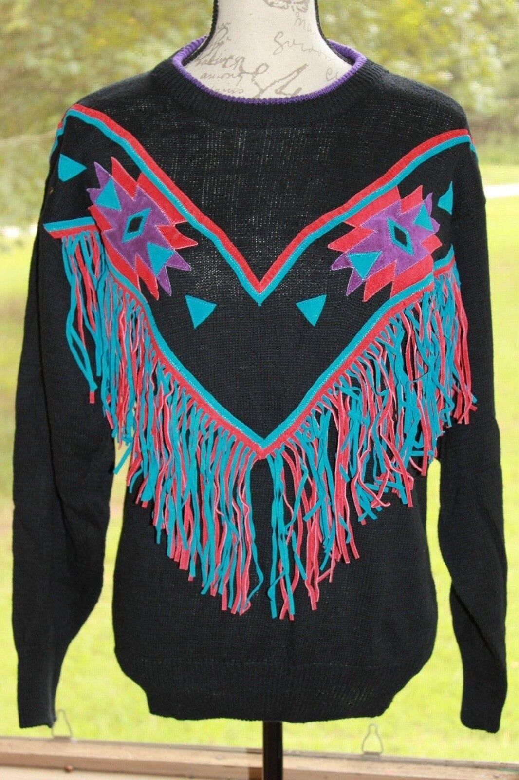 Pioneer Wear Medium Vintage Suede Leather Fringe Southwestern Country Sweater BO