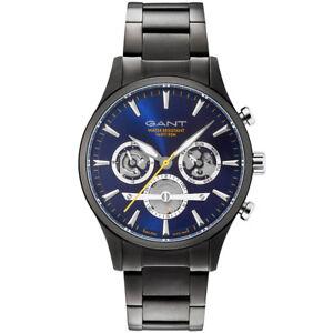 Gant-GT005018-Ridgefield-blau-schwarz-Edelstahl-Armband-Uhr-Herren-NEU