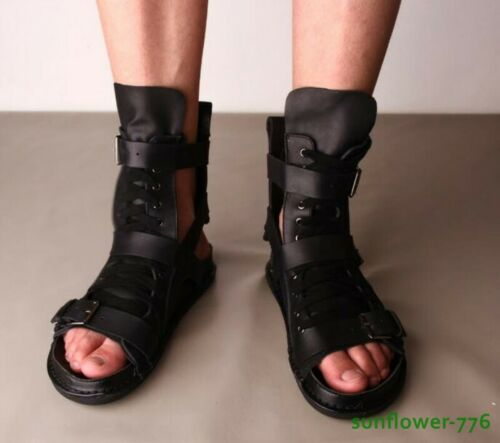 Men/'s spartiates en cuir véritable High Top Bottes Boucle Roma Open toe lace up