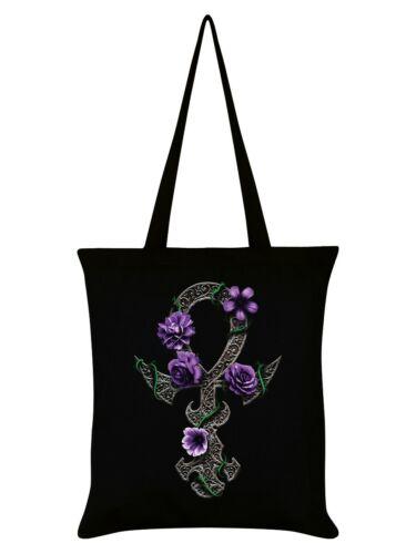 Requiem Collective Floral Ankh Tote Bag Black 38x42cm