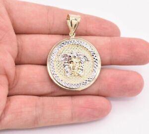 2-034-Medusa-Diamond-Cut-Round-Medallion-Pendant-Real-10K-Yellow-White-Gold
