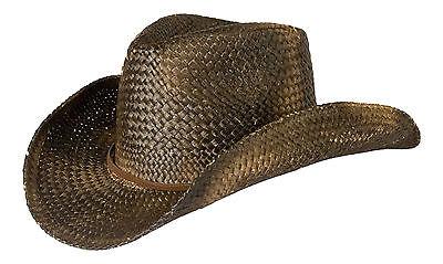Cowboy Hat Black Straw, Vintage / Distressed / Leather Trim Flexi Fit Sweatband
