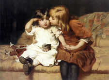 """Lovely Oil painting young sisters with their doll on sofa canvas 24""""x36"""""""