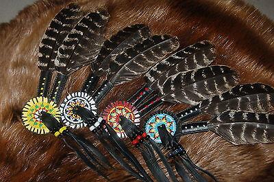 Mountain Man hat decoration re-enactor Pre-1840 rendezvous beaded rosette fur