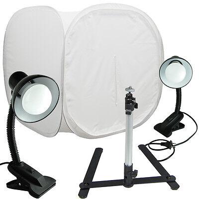 """30"""" Photo Tent Shooting Box Softbox Kit LED Light/Tripod Goose Neck Clamp"""