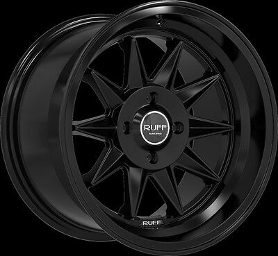 "15"" RUFF RACING R358 SATIN BLACK WHEELS RIMS"