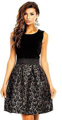 Kleid Cocktailkleid 38 L schwarz gold Blüten Brokat glitzer Abendkleid Ballkleid